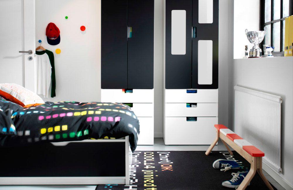 Dormitorio juvenil decorado en blanco y negro im genes for Vinilos juveniles ikea