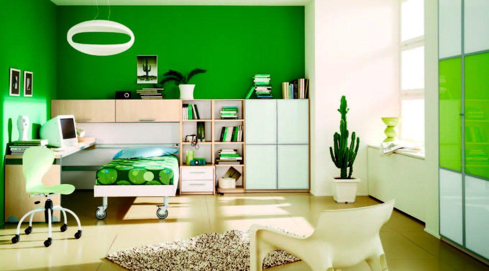 habitacin moderna en color verde