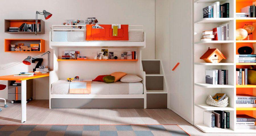 Habitaci n para ni os en blanco y naranja im genes y fotos - Habitaciones originales para ninos ...