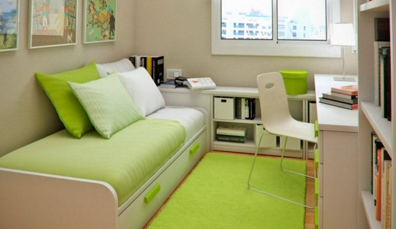 Habitación para niños pequeña en tonos verdes :: Imágenes y fotos